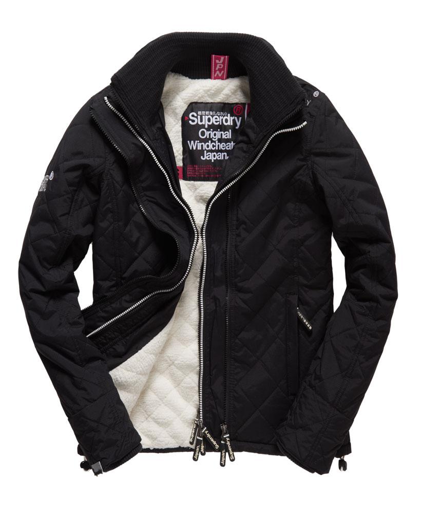 [女款] Outlet英國 極度乾燥 Superdry Hooded Sherpa 加厚保暖菱格紋絎縫羊羔絨防風衣 女款 黑