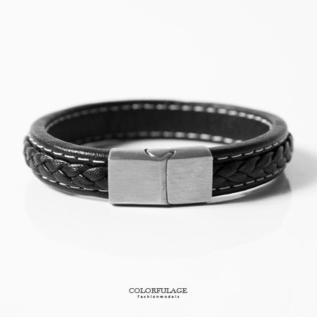 手環 雙白線厚實寬版皮革個性手鍊 低調沉穩黑 白鋼磁釦側開口 柒彩年代【NA373】俐落帥氣