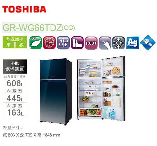 『TOSHIBA』☆東芝608公升變頻玻璃鏡面雙門電冰箱GR-WG66TDZ **免費基本安裝**