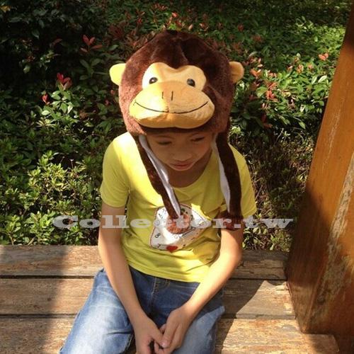 【P15102802】咖啡色猴子卡通毛帽 猩猩動物毛絨帽 尾牙表演活動道具 冬天保暖帽