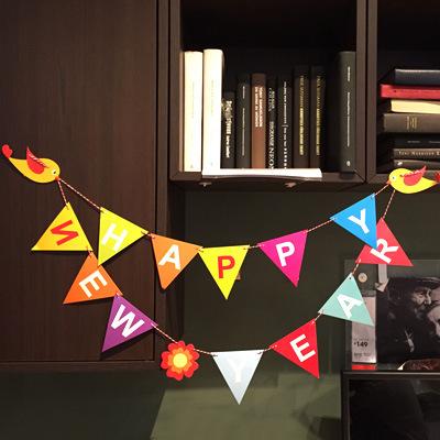 新年快樂彩旗 紙質裝飾 派對彩旗