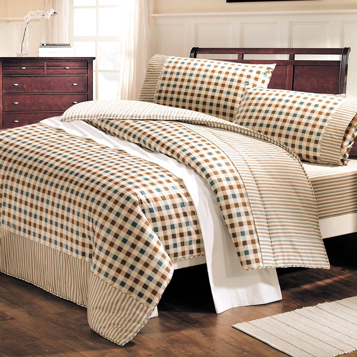 床包組/防蹣抗菌-雙人-100%精梳棉床包組/經典格紋/美國棉授權品牌-[鴻宇]台灣製-1799綠