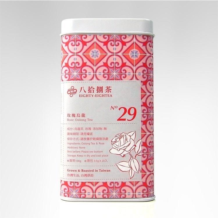 【八拾捌茶 窨製花茶】玫瑰烏龍 100g 罐裝