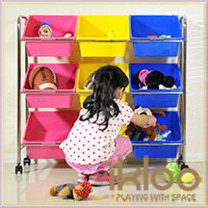 Loxin【BG0592】ikloo~可移式9格玩具收納組 玩具車 玩具箱