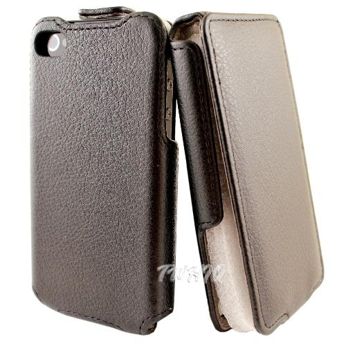 Apple iPhone 4 下掀式/掀蓋式 手機皮套 荔枝紋限定款◆送很大! 專用抗指紋保護貼◆