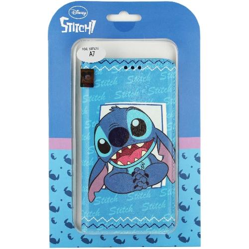 【Disney】Samsung Galaxy A7 哈囉系列 隱磁側掀皮套-史迪奇◆贈品:萬用型USB電源充電器/旅充頭◆