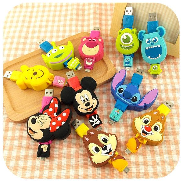 【Disney】Micro USB 玩具總動員TOYS造型伸縮傳輸線-三眼怪/熊抱哥
