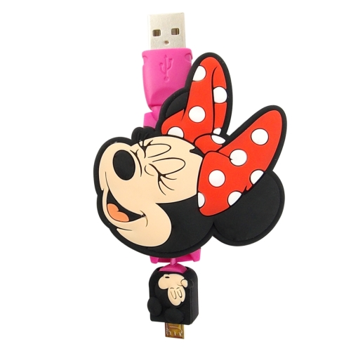 【Disney】Micro USB 造型伸縮傳輸線-米奇/米妮