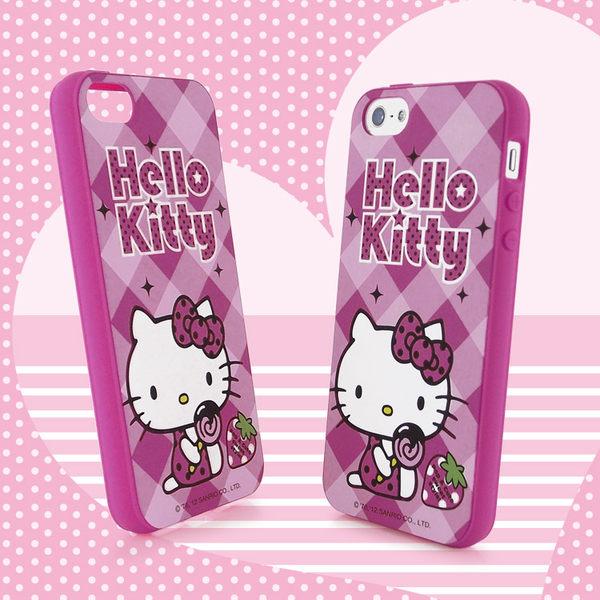 Sanrio 三麗鷗 Hello Kitty iPhone 5 甜點下午茶系列軟式保護套-草莓棒棒糖◆贈! 晶鑽套 iPhone 4 保護殼◆