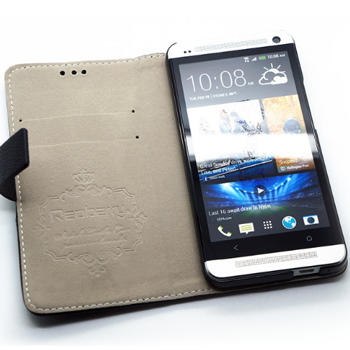 Redberry New HTC One (M7) 機皇 雙料縫線 側掀(立架式)皮套