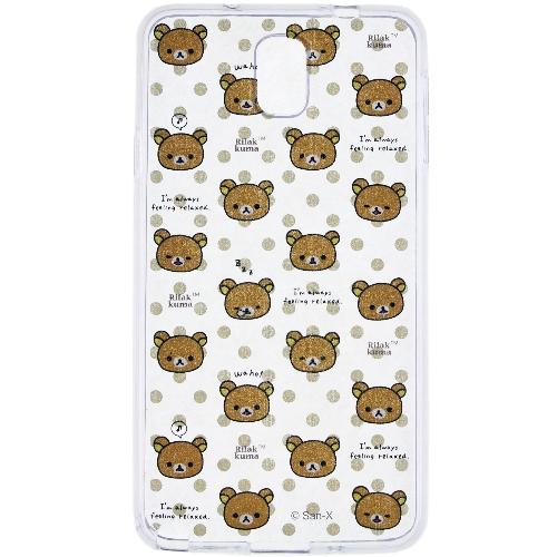 Rilakkuma 拉拉熊/懶懶熊 Samsung Galaxy Note3 彩繪透明保護軟套-繽紛大頭熊