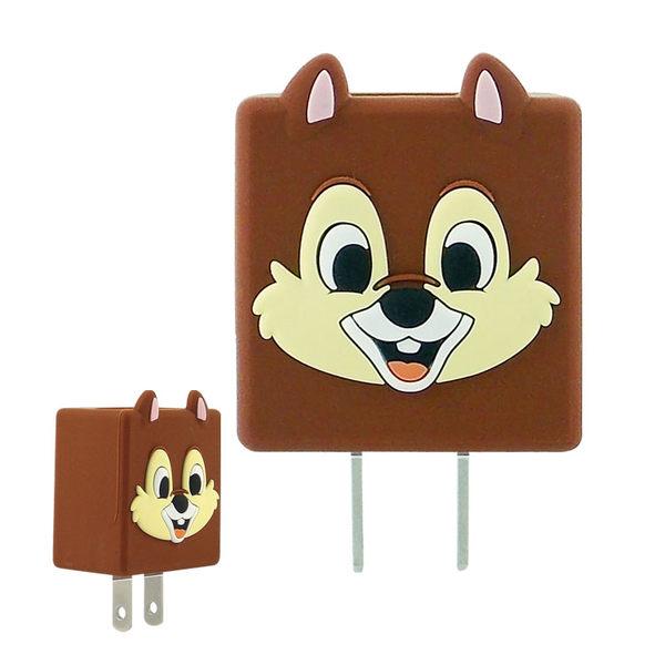 【Disney】可愛造型充電轉接插頭 USB充電器-奇奇/蒂蒂
