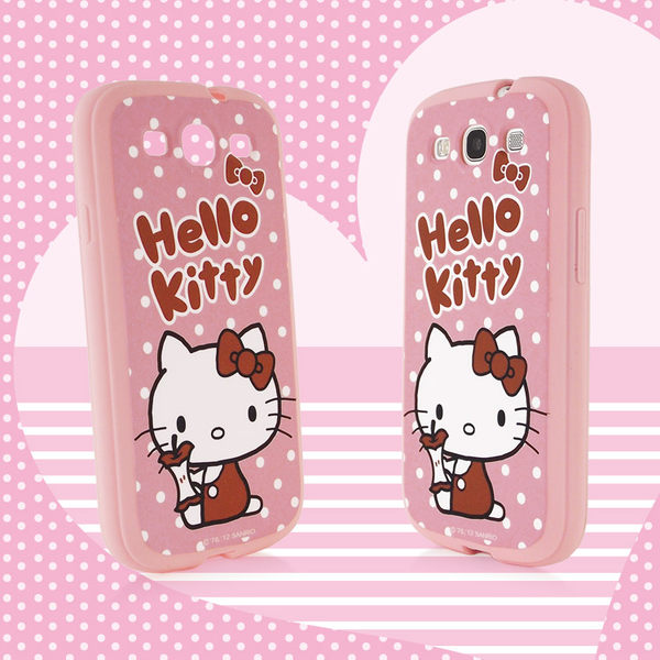 三麗鷗 Hello Kitty SAMSUNG Galaxy S3 i9300 白點點蘋果心軟式保護套◆送!真皮直入式手機套(尺寸不可挑)◆