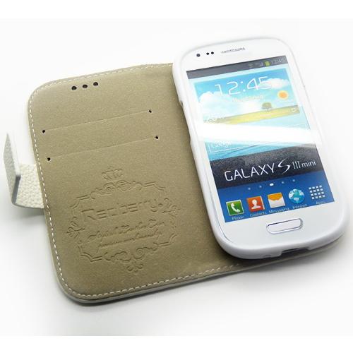 Redberry 三星 i8190 Galaxy S3 mini 雙料縫線 側掀(立架式)皮套