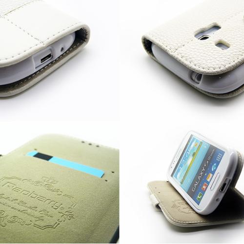 Redberry 三星 i8190 Galaxy S3 mini 雙料縫線 側掀(立架式)皮套◆送很大!專用型螢幕保護貼◆