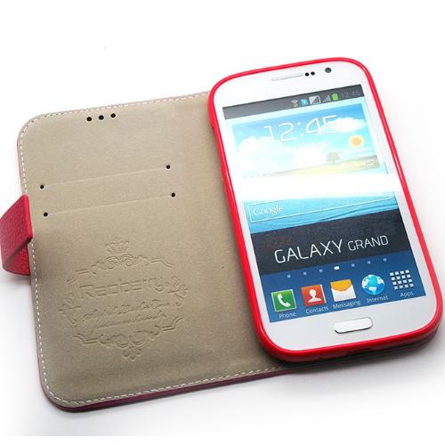 Redberry 三星 i9082 Galaxy Grand Duos 雙料縫線 側掀(立架式)皮套