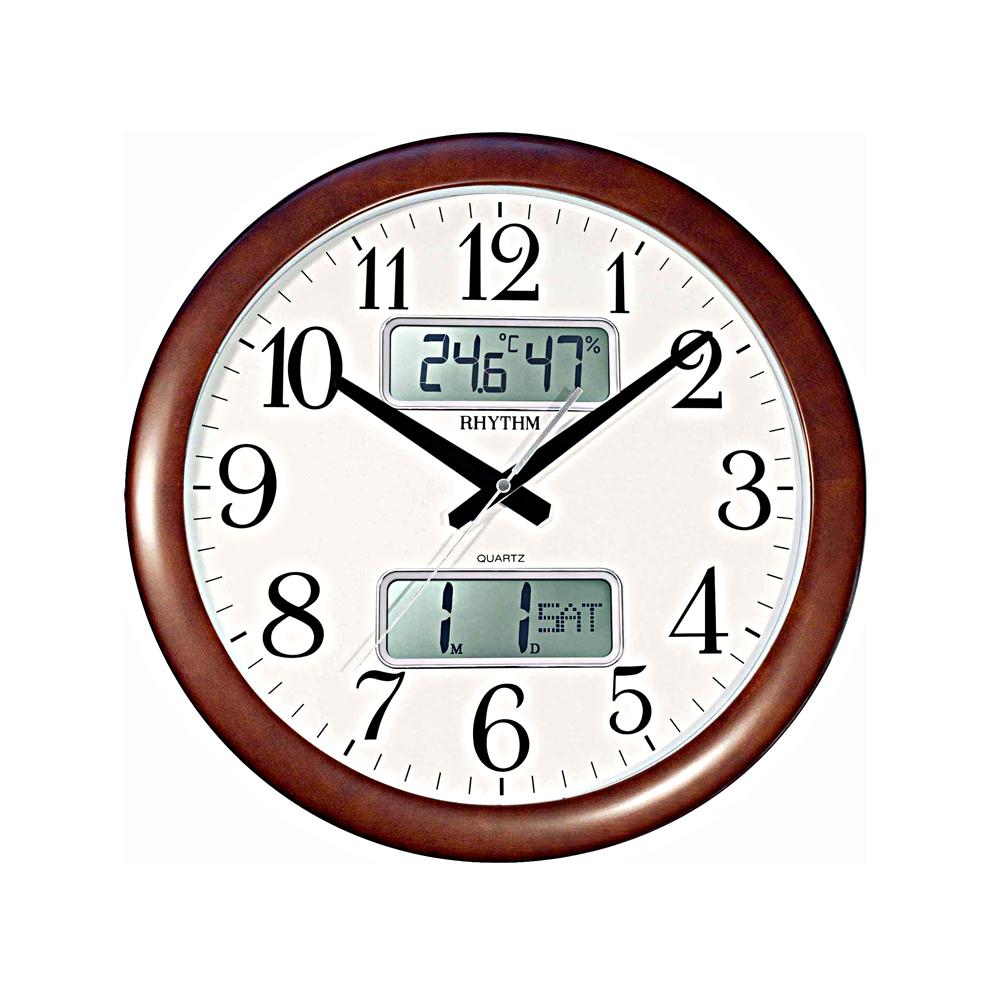 RHYTHM 日本麗聲 CFG901 雙顯液晶萬年曆溫濕度靜音掛鐘