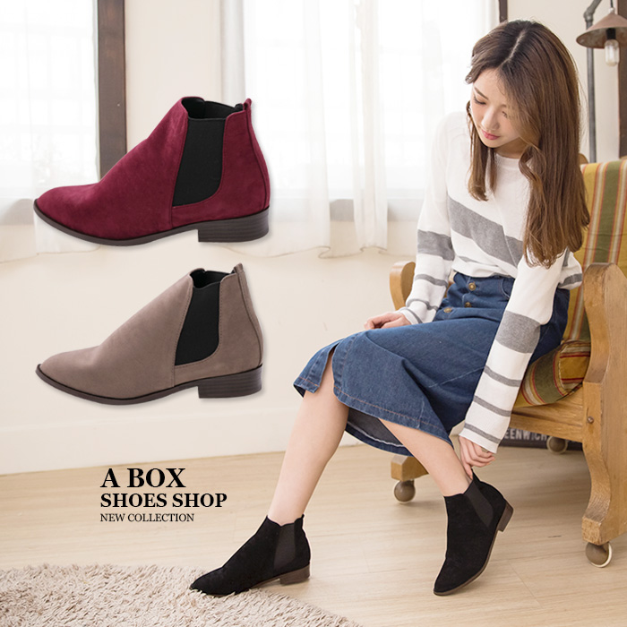 格子舖*【AA3779】MIT台灣製 百搭時尚單品 質感素面絨布 鬆緊帶粗低跟馬丁靴 短靴 短筒靴 3色