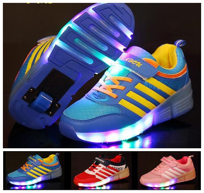 網面單輪led亮燈暴走鞋帶燈輪滑鞋溜冰鞋親子鞋