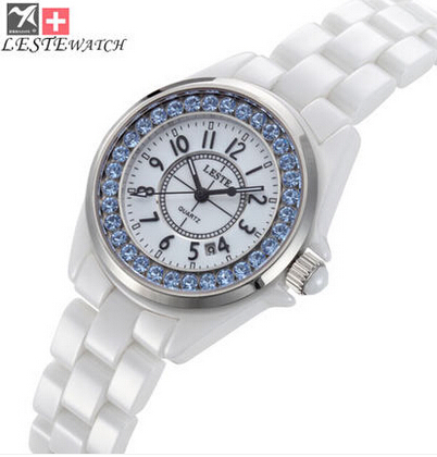 L萊斯特時尚陶瓷白色女錶韓味超薄腕表七天預購+現貨