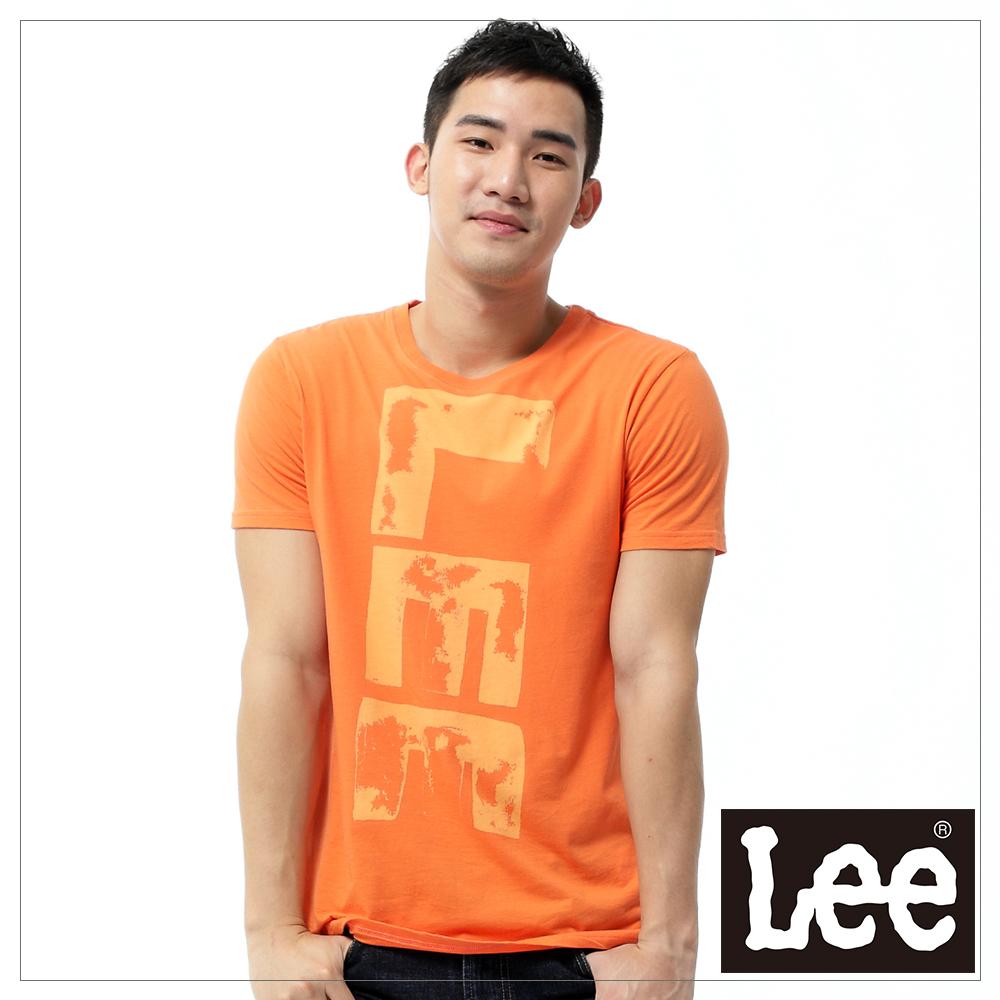 【秋冬商品 TOP ↘單一特價330】Lee 圓領橘黃色文字印刷短袖T恤 - 男款(橘)