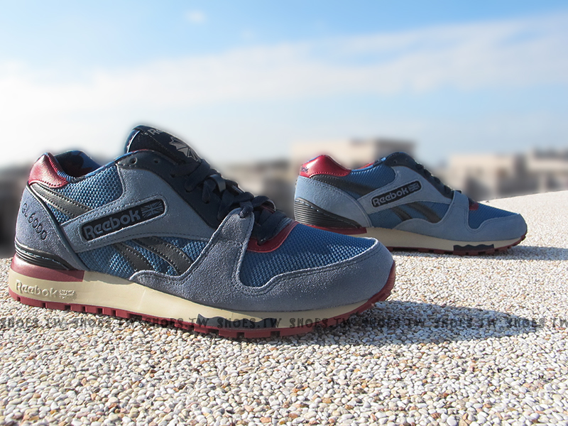 Shoestw【V62850】Reebok 復古慢跑鞋 GL6000 藍黑 楓葉 麂皮