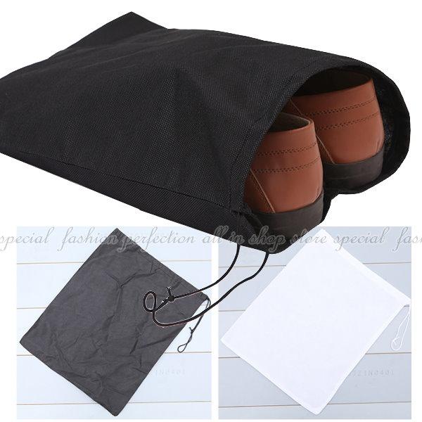 攜帶型防潮透氣 加厚無紡布鞋袋-1入 不織布束口袋 平口袋 收納袋【DG213】◎123便利屋◎