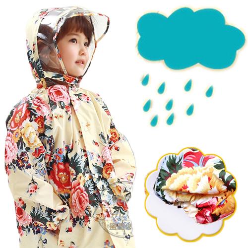 Lemonkid◆韓國浪漫玫瑰花朵優質設計透明帽檐拉鍊釦兒童雨衣