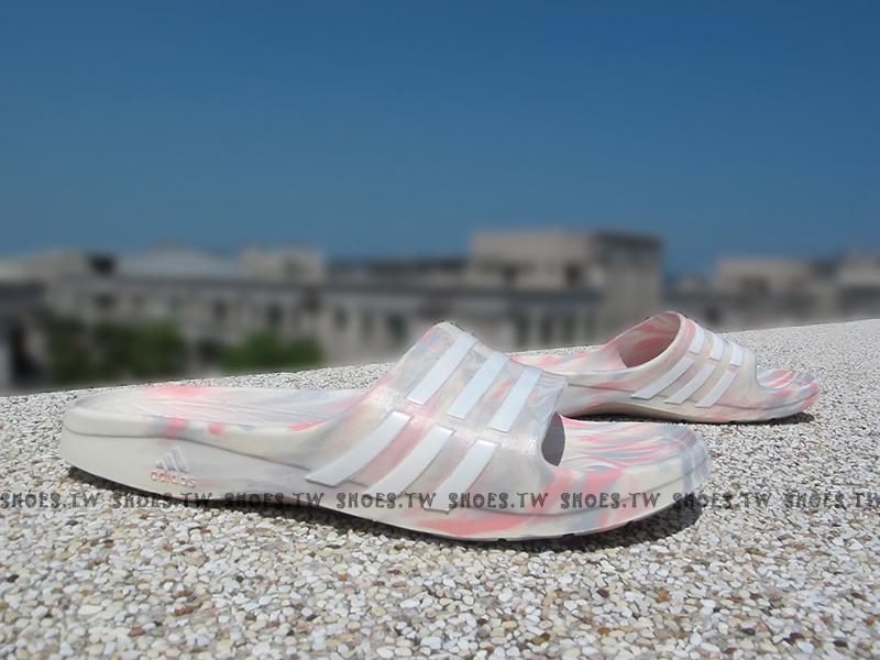 Shoestw【S77685】ADIDAS DURAMO SLEEK 拖鞋 渲染 粉紅 米白 迷彩 女生窄版