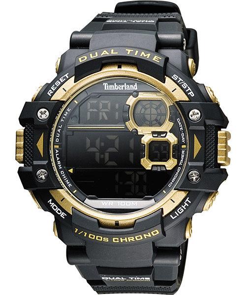 Timberland 天柏嵐 TBL.14260JPB/02A流行數位黑金腕錶/黑面55mm