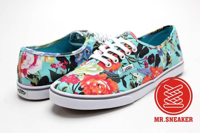 ☆Mr.Sneaker☆ Vans Authentic Lo Pro Floral 經典 復古 拼接 休閒 滑板鞋 彩色 鮮艷 湖水綠 水藍 滿版花卉 女款