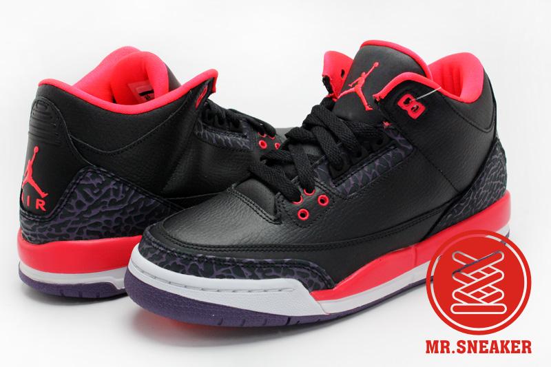 ☆Mr.Sneaker☆ NIKE Air Jordan Retro 3 Black Bright Crimson AJ3 JOKER XX8 GS 女鞋 大童鞋 小丑 爆裂紋 荔枝皮 黑色 橘色 深紫