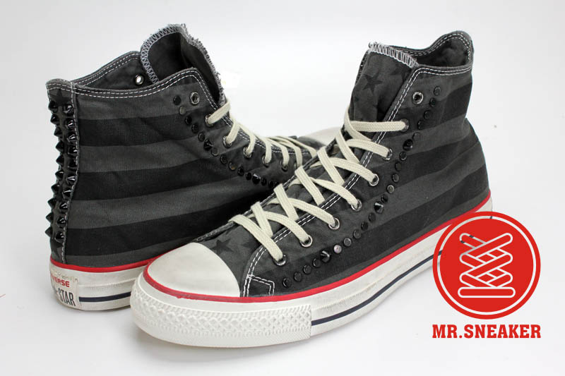 Mr.Sneaker  Converse Chuck Taylor Canvas John Varvatos 高筒 中性 男女款 鉚釘 搖滾 美式 破壞 平民版 水洗 刷舊 仿舊 條紋 星星 黑色 灰色
