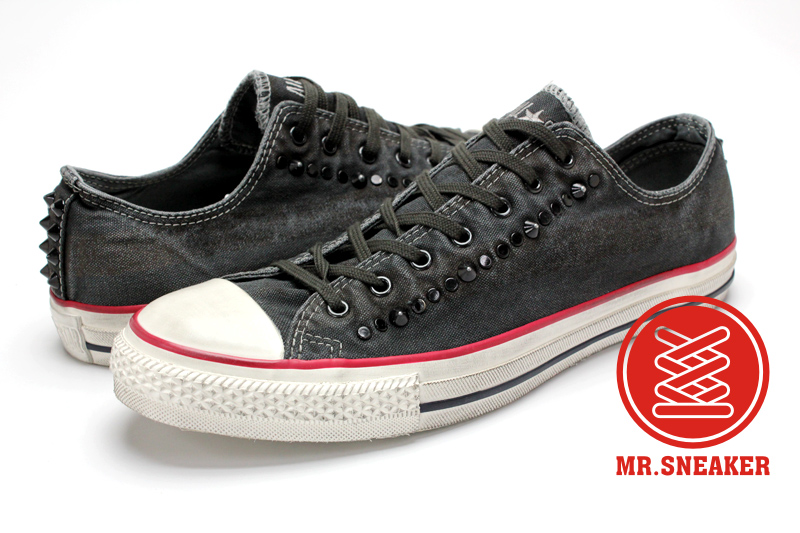 Mr.Sneaker  Converse Chuck Taylor Washed Canvas John Varvatos 低筒 黑鉚釘 搖滾 破壞 平民版 水洗 刷舊 仿舊 深灰 黑色