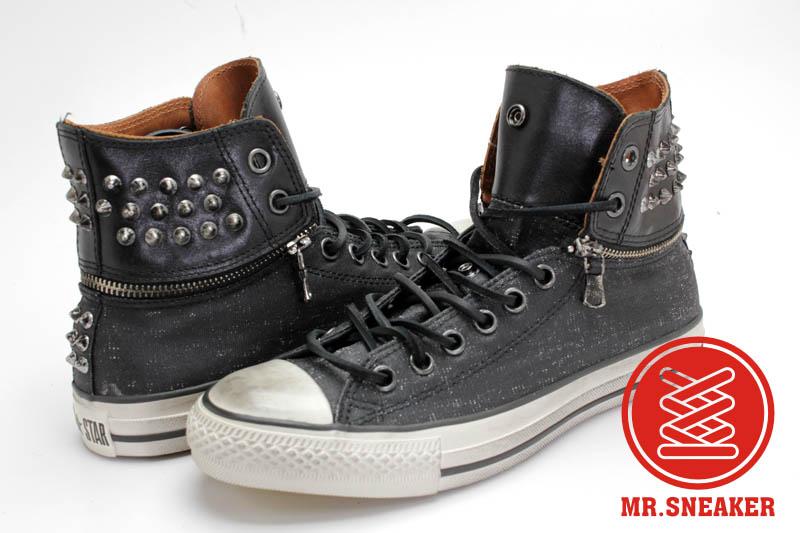 Mr.Sneaker  CONVERSE John Varvatos x All Star JV 復古 仿舊 刷舊 高筒 反折 可拆 拉鏈 搖滾 個性 鉚釘 黑色