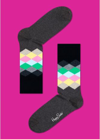 ☆Mr.Sneaker☆ 瑞典 Happy Socks 2015 漸層鑽石 中筒襪 FD01 繽紛 歡樂 快樂襪 男女尺碼 菱格 深灰/綠/粉紅