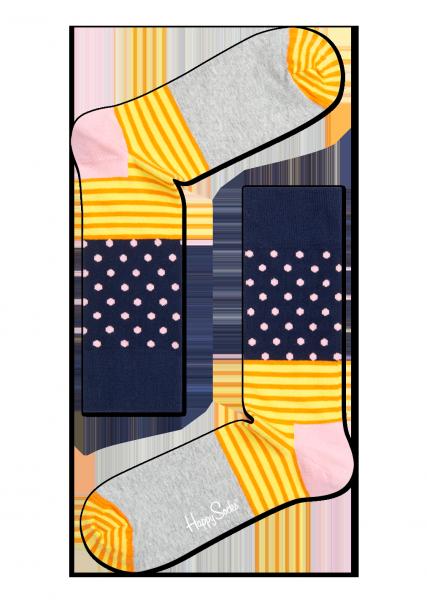 ☆Mr.Sneaker☆ 瑞典 Happy Socks 2015 創意拼圖 中筒襪 SD01 繽紛 歡樂 快樂襪 男女尺碼 彩色 點點 橫線條 灰/黃/深藍
