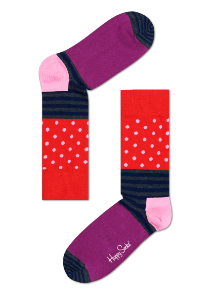 ☆Mr.Sneaker☆ 瑞典 Happy Socks 2015 創意拼圖 中筒襪 SD01 繽紛 歡樂 快樂襪 彩色 點點 橫線條 紅/粉紅/紫