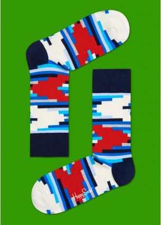 ☆Mr.Sneaker☆ 瑞典 Happy Socks 2015 錯綜線條 中筒襪 SO01 繽紛 歡樂 快樂襪 彩色 橫線 積木 幾何 藍/紅/白