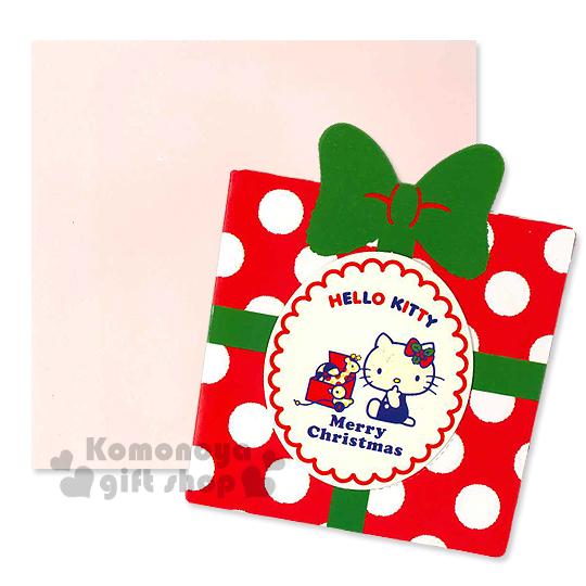 〔小禮堂〕Hello Kitty 造型聖誕卡片《S.紅.禮物型.點點.綠蝴蝶結.坐姿》附信封