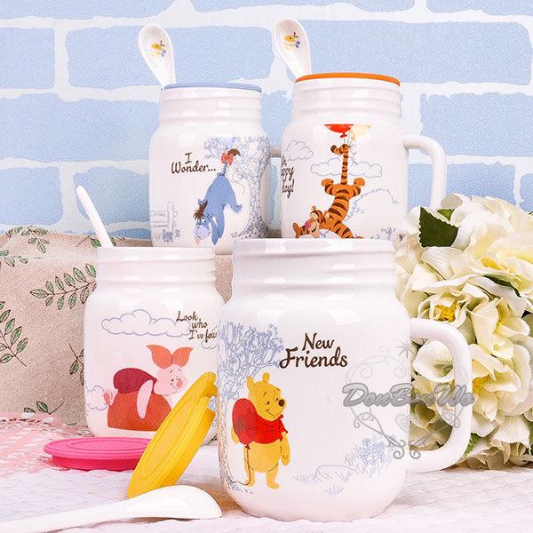 迪士尼維尼與小豬跳跳虎伊兒陶瓷馬克杯湯匙杯蓋三件組送禮黃維010136海渡
