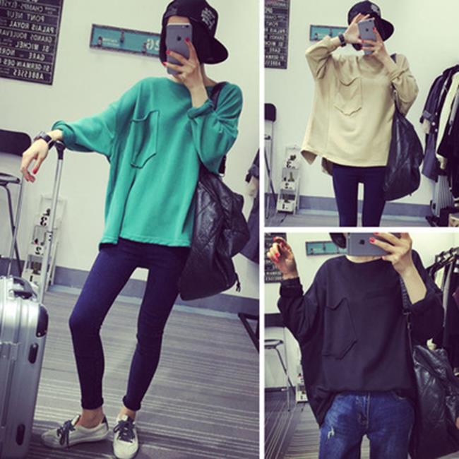50%OFF【G019069C】韓版寬鬆顯瘦口袋純色長袖套頭衛衣女學生上衣潮