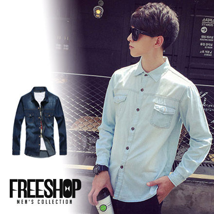 Free Shop【QTJZ8001】日韓系型男單寧水洗後側拼接皮標簡約車線牛仔長袖襯衫‧二色
