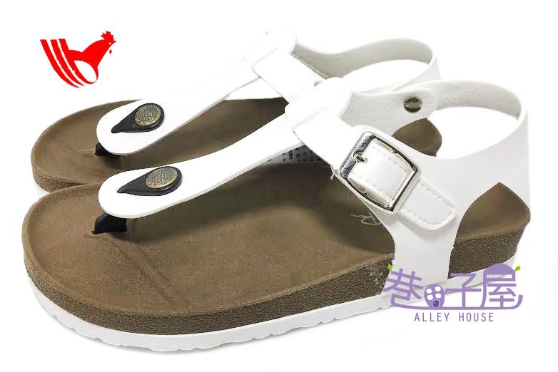 【巷子屋】ROOSTER公雞 女款經典勃肯夾腳涼拖鞋 [2338] 白色 MIT台灣製造 超值價$198