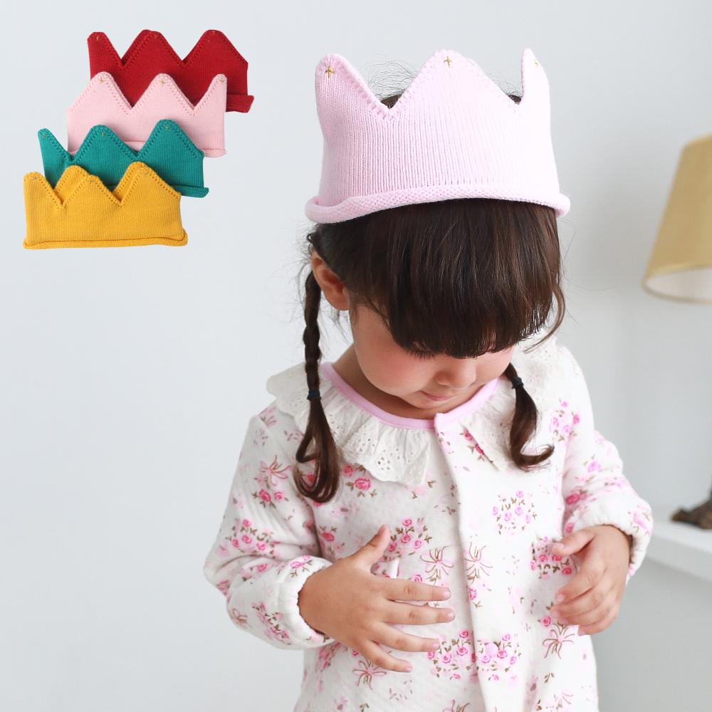 素面皇冠造型毛線帽 F1060