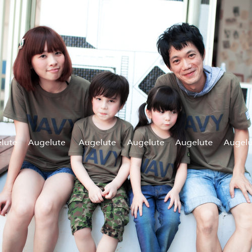 小朋友下單區 時尚韓裝 軍綠色夏款親子裝31172 秋款全家裝 短袖T恤
