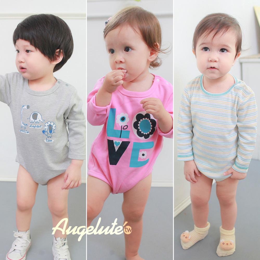 不挑款 獨家女男寶寶、嬰兒長袖包屁衣 保暖內搭衣服 長袖連身衣 新生兒衣  D37231