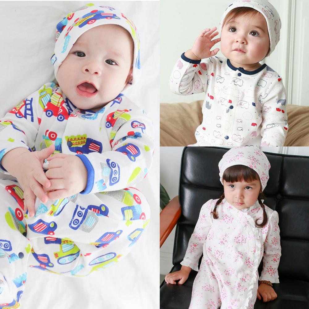 Augelute Baby 純棉長袖包腳連身衣2件組 含嬰兒帽   50517