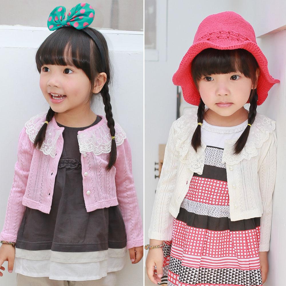 Augelute 女童 珍珠排扣蕾絲短版罩衫外套  53002