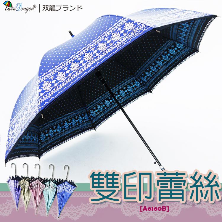 【雙龍牌】洛可可雙面圖案蕾絲宮廷傘(海洋藍下標區)防曬降溫黑膠自動傘超輕量貴婦傘A6160B